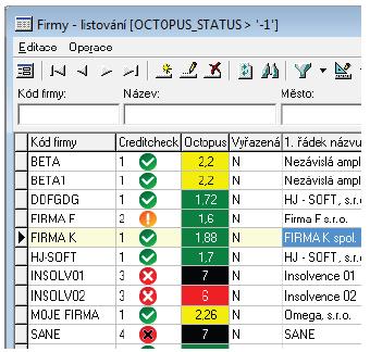 Zobrazení v systému Entry